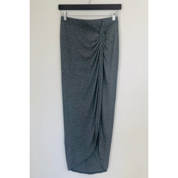 Kaitlyn Gray Maxi Skirt with Knot Detail & Slit